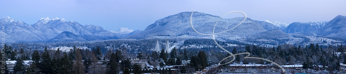 Looking from Surrey, BC to the North Shore Mountains